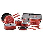 Rachael Ray's 16 Piece Classic Brights Porcelain Enamel Nonstick Cookware Set $65