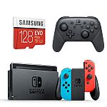 Nintendo Switch Neon Console + Pro Controller + Samsung 128GB MicroSD Card Starter Bundle $340