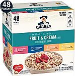 48-Count Quaker Instant Oatmeal Fruit & Cream Variety Pack $8.44 or Less