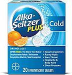 20-Ct Alka-Seltzer Plus Cold Medicine (Effervescent Tablets - Orange Zest) $2.46