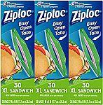 90-Ct Ziploc XL Sandwich Bags $3.85 & More