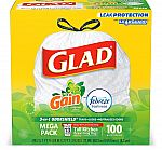 100-count Glad Tall Kitchen Drawstring Trash Bags $9.90 & More