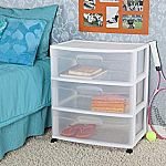 Sterilite 3-Drawer Wide Cart w/ Casters $15 (Org $38)