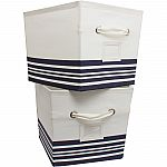 2 Pack Mainstays Large Canvas Bins Nautical Stripe $8.41