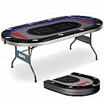 ESPN 10 Player Premium Foldable Poker Table with In-Laid LED Lights $159