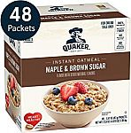 48-Count Quaker Instant Oatmeal (Maple Brown Sugar or Apples & Cinnamon) $6.70 or Less
