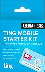 Ting GSM Sim Card Kit for $1 with $30 Service Credit