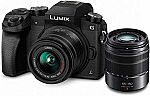 Panasonic Lumix DMC-G7 4K Digital Mirrorless Camera Bundle w/ LUMIX G Vario 14-42mm & 45-150mm Lenses $498