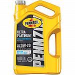 Pennzoil Ultra Platinum 0W-20 Full Synthetic Motor Oil, 5 Quart $17.31