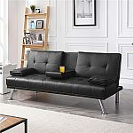LuxuryGoods Modern PU Leather Futon w/ Cupholders & Pillows $149.99