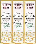 3 Count Burt's Bees Toothpaste, Natural Flavor With Fluoride Clean & Fresh $5.98