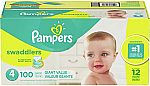 Pampers Swaddlers Diapers: $15 off $75 (sizes 1, 3, & 4)