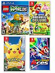 LEGO Worlds - PS4 $12, New Super Mario Bros. U Deluxe (Switch) $44,  Pokemon: Let's Go Pikachu $42 and more