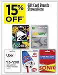 15% Off Gift Cards (Uber, Subway, Taco Bell, Dairy Queen, Sonic)