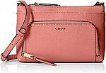 Calvin Klein Lily Saffiano Leather Top Zip Crossbody $36