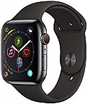 Apple Watch Series 4 (GPS + Cellular, 44mm) - Space Black Stainless Steel Case with Black Sport Band $399 and more