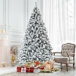 Costway 7.5 Ft Snow Flocked Hinged Artificial Christmas Tree $68