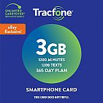Tracfone 365-Day Prepaid Wireless Smartphone Plan + SIM (1200 Min, 1200 Txt, 3GB Data) $40