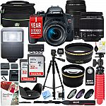 Canon EOS Rebel T7i DSLR Camera w/ EF-S 18-55mm + EF 75-300mm Lens + 64GB Kit $699