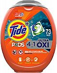 Tide Pods Ultra Oxi Liquid Laundry Detergent Pacs, 73 Count $15 or Less
