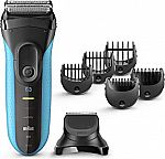 Braun Series 3 Cordless Electric 3-in-1 Razor w/ 5 Combs and 1 Precision Trimmer Head $35 (64% Off)