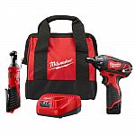 """Milwaukee M12 12-Volt Li-ion Cordless 3/8"""" Ratchet & Screwdriver Combo Kit (2-Tool) w/ Battery, Charger, Tool Bag $99 (50% off) & More + Free Shipping"""