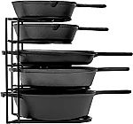 Cuisinel Heavy Duty 5 Tier Pan Organizer $20, Cast Iron Skillet 3-Piece Chef Set $35