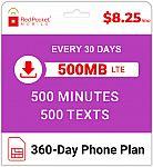 Red Pocket Prepaid Wireless Phone Plan+Kit: 500 Talk 500 Text 500MB $89 (org $125)