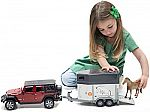 Bruder Jeep Wrangler Unlimited Rubicon w/ Horse Trailer & Horse $26 + Free Shipping