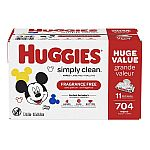 704-Count Huggies Simply Clean Fragrance-free Baby Wipes $21.60 and more
