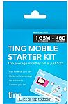 Ting GSM Sim Card Kit for Unlocked Phone w/ $60 Service Credit for $0.99