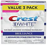 3-Pack Crest 4.1-oz 3D White Brilliance Toothpaste $8 or Less