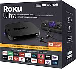 Roku - Ultra 4K Streaming Media Player with JBL Headphones and Enhanced Voice Remote $48