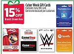 15% Off gamestop Gift Cards and more