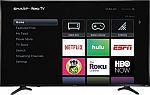 "Sharp 55"" Smart 4K UHD Roku TV + Free Google Home mini $230"