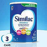3Pk Similac Advance Infant Formula with Iron (36 Oz Each) $43