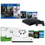 PS4 Slim 1TB Only on PlayStation Console Bundle + Xbox One S All Digital Console $369.99