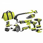 RYOBI 18-Volt ONE+ Lithium-Ion Cordless 9-Tool Combo Kit with (2) Batteries, Charger, and Bag $249 (62% off)