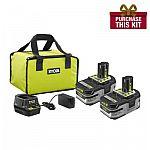 Ryobi 18-Volt ONE+ Lithium+HP 3ah starter kit (2 pack) + 9ah Battery $89