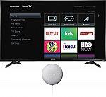 """50"""" Sharp 4K UHD HDR Roku Smart TV + Google Nest Mini $200"""