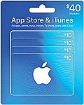 4 x $10 App Store & iTunes Gift Cards $34