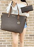 Michael Kors Jet Set Travel Large Drawstring Tote + MK 3/4 Zip Wallet $160