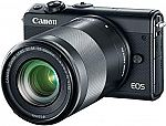 Canon EOS M100 Mirrorless Camera w/ EF-M 15-45mm & 55-200mm IS STM Lenses Kit $399