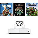 Microsoft Xbox One S 1TB All Digital Edition 3 Game Bundle $159