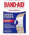 40-Count Band-Aid Brand Sheer Strips Adhesive Bandages for First Aid and Wound Care $1.24