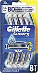 Gillette Sensor3 Men's Disposable Razor, 8 Count $5.54