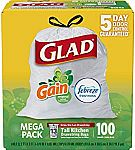 100ct Glad OdorShield Tall Kitchen Drawstring 13 Gallon Trash Bags $13.49 or Less