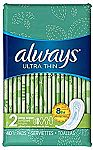 3 x 44 Ct Always Ultra Thin Feminine Pads for Women $12.59 and more