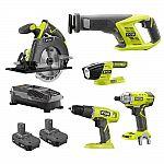 5-Tool Ryobi 18V ONE+ Kit: Drill & Driver, Circular & Recip Saw w/ 2x Batteries $149
