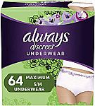 64 ct. Always Discreet Incontinence Underwear for Women Maximum Protection, Small/Medium $32 and more